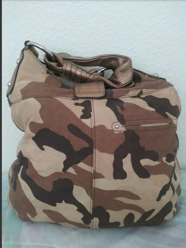 B. Makowsky Camo Leather Hobo Bag Shoulder Bag Tote Handbag Purse