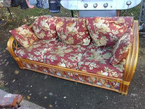 Custom made Rattan sleep sofa with queen size mattress rarely used for Sale in Washington, DC