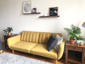 Yellow futon sofa for Sale in Jersey City, NJ
