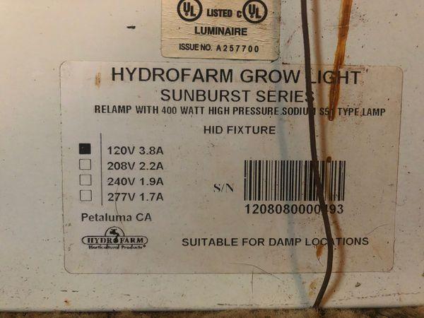 Hydro farm 400 watt lamp with bulb
