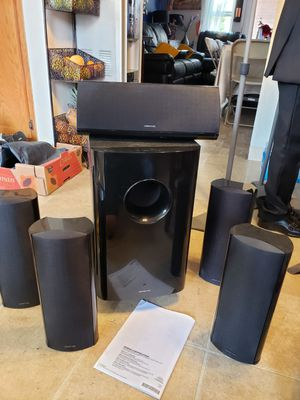 Onkyo subwoofer with speakers and stands for Sale in Carlsbad, CA