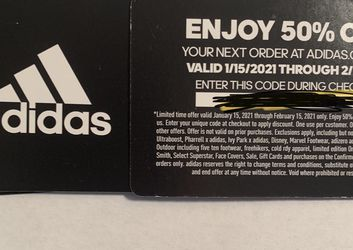 Adidas 50% Off Coupon ONLINE ONLY for Sale in Lake Oswego,  OR
