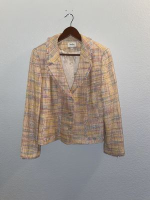 Pretty Plaid Pastel Fringed Neiman Marcus Blazer - Size 14. Great condition B103 for Sale in Fort Worth, TX