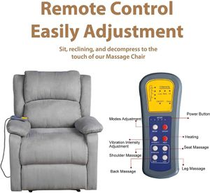 Suede Heated Massage Recliner Sofa Chair Ergonomic Lounge with 8 Vibration Motors, Grey (HAS MINOR DAMAGE ON REMOTE) ASSEMBLED for Sale in Fort Worth, TX