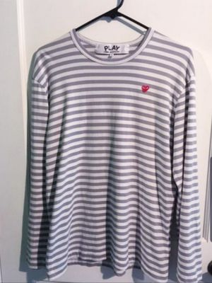 """Comme Des Garcons """" CDG Play Small Heart """" Stripe Long Sleeve Grey 100% Authentic for Sale in Las Vegas, NV"""