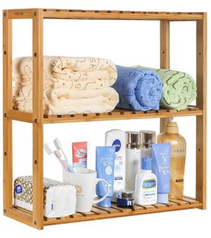 Bamboo Bathroom Shelf 3-Tier Multifunctional Adjustable Layer Rack Wall Mounted Utility Storage Organizer Towel Shelves Kitchen Living Room Holder Na for Sale in La Mirada, CA
