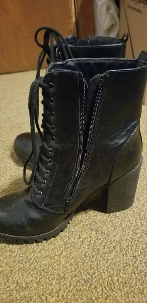 Black leather boots size 10 for Sale in Portland, OR