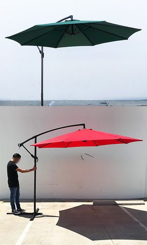New $60 each Round 10' Offset Patio Umbrella Outdoor Off Set Crank Lift w/ Cross Stand for Sale in South El Monte, CA