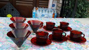 Vintage Ruby glassware for Sale in Stockton, CA