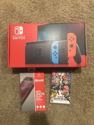 Nintendo Switch Neon Bundle with Super Smash Bro's and Screen Protector for Sale in Bellevue, WA