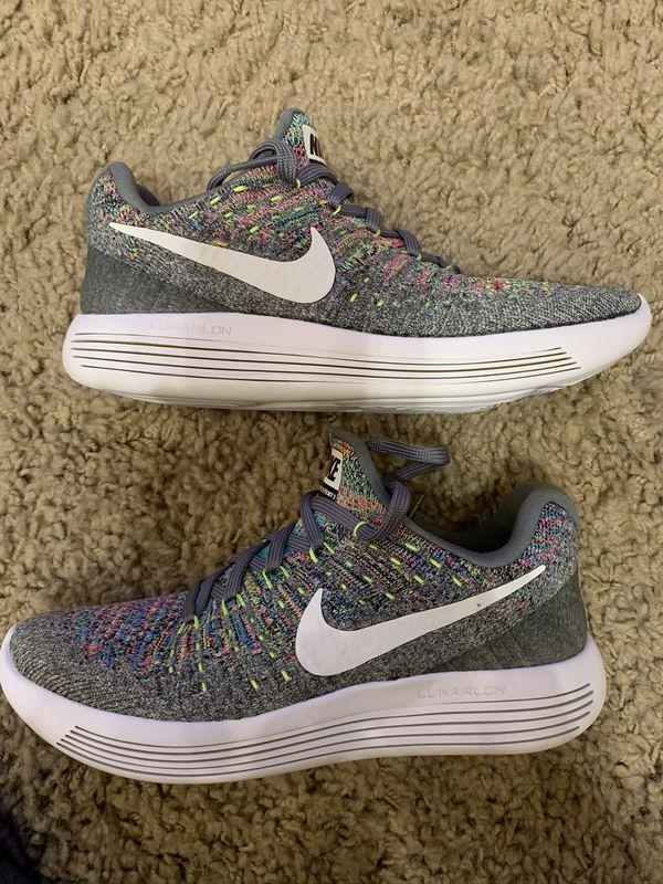 Nike Lunarepic Low Flyknit 2 Grey Multicolor Shoes (863780-003) Women's Size 5
