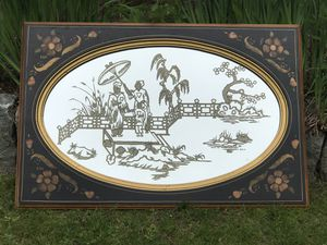 Vintage Asian Style Themed Mirror Wall Hanging Wood Decor Designers for Sale in Avon, MA