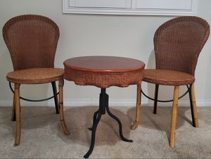 Antique wood/wicker bistro set for Sale in Corona, CA