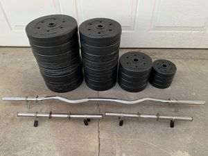 240 lbs. Pounds Weight Plates Dumbbell Set & Curl Bar Exercise Home Gym for Sale in Calimesa, CA