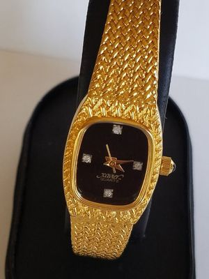 Xavier Women's Watch, Ladies Genuine Diamonds Wrist Watch, Gold Tone Weaved Decor, Gold Plated Wrist Watch for Sale for sale  Salt Lake City, UT