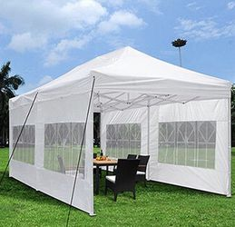 (NEW) $210 Heavy-Duty 10x20 Ft Outdoor Ez Pop Up Party Tent Patio Canopy w/Bag & 6 Sidewalls, White for Sale in El Monte,  CA