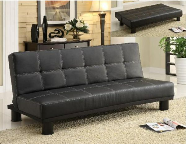 Black leather sofa bed sleeper couch futon