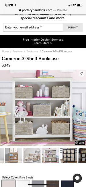 Pottery barn Cameron 3 shelf bookcase white for Sale in Phoenix, AZ