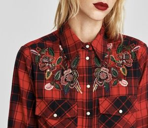 Zara Checkered Shirt with Floral Bejeweled Appliqué for Sale in Lorton, VA