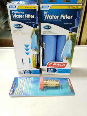 INLINE RV WATER FILTER 20 Micron Fiber Camper Trailer Purifying System 2 Pack with Camco TastePURE Water Filter and Lead all 3 bundle for Sale in Kent, WA