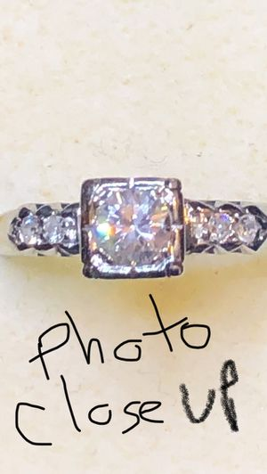 18K real white solid gold diamond ring size 6 for Sale in Norwalk, CA