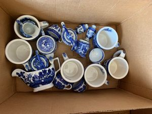 Japanese and English blue delft-like pottery for Sale in Los Altos, CA