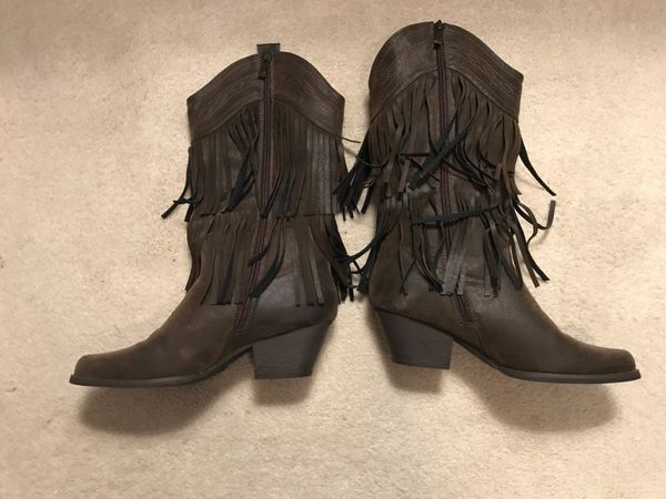 Brand New Never Worn Pierre Dumas Size 8.5 Women's Brown Fringe Cowgirl Boots