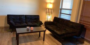 "Tow sofa in a good condition and smart tv 32"" and small coffee table and the lamp in the corner for Sale in San Angelo, TX"