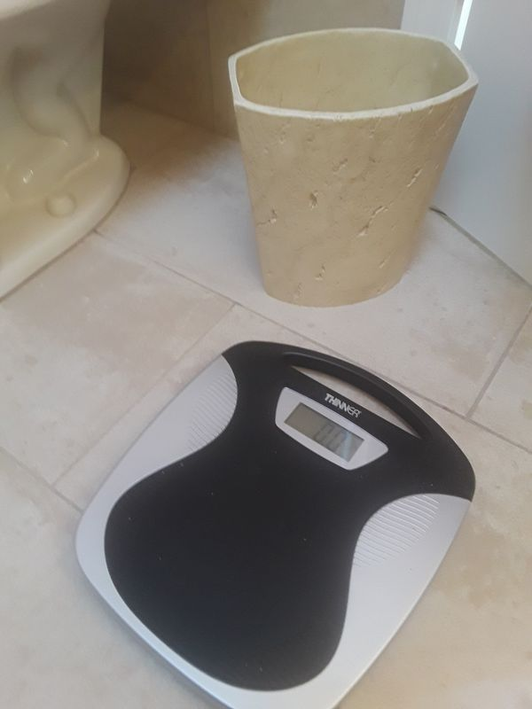 Bathroom Scale and Wastebasket
