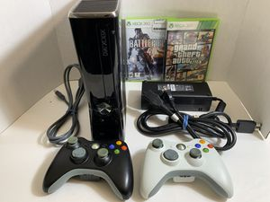 Xbox 360 slim 250 gb bundle 2 controllers for sale or trade (Nintendo 64, super Nintendo, gamecube) for Sale in Wood Dale, IL