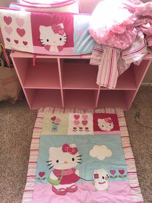 Baby Crib Bedding & book case - Hello Kitty $60 OBO for Sale in Henderson, NV