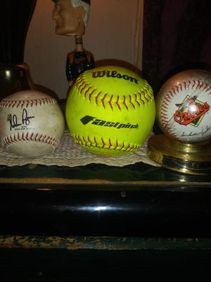 Original series baseball's ( one by Baltimore Orioles signed by original players,and first original softball, and original Chuck Thompson bobble head. for Sale in Arlington, VA