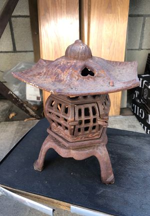 Vintage iron candle holder Japanese pagoda style with opening door hearts candle or converted for lamp ... for Sale in Los Angeles, CA