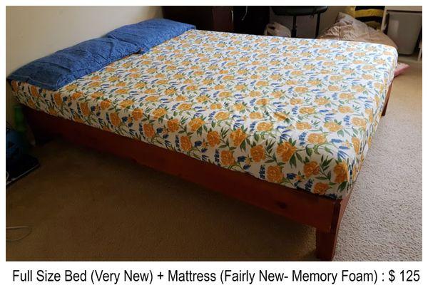 Full Bed & Mattress (Memory Foam)