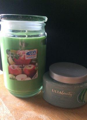 Big candle & ultra beauty body scrub for Sale in San Bernardino, CA