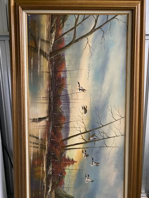 P. CITRIN SIGNED OIL PAINTING DUCKS FLYING AT LAKE for Sale in Dallas, TX