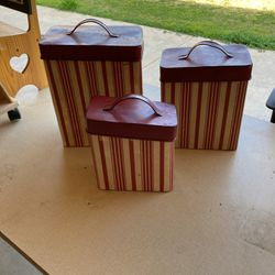 Three Vintage Hoosier Canisters From My Grandmothers Pantry for Sale in Fresno,  CA