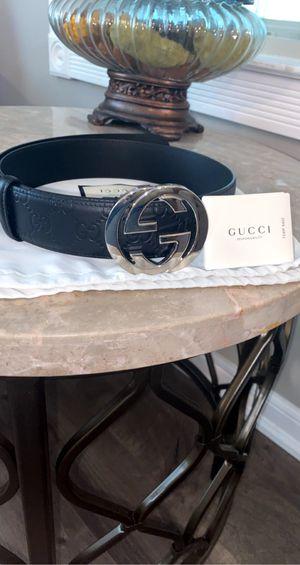 Gucci Mens belt signature logo embossed black leather silver buckle for Sale in Detroit, MI