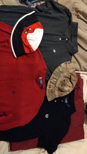 Large and medium size clothes with bulls and camo hats for Sale in Greensboro, NC