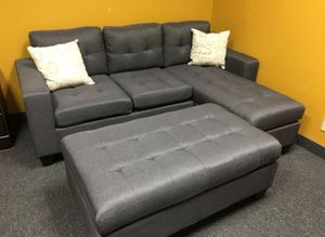 Brand New Grey Linen Sectional Sofa Couch + Ottoman (New in Box) for Sale in Silver Spring, MD
