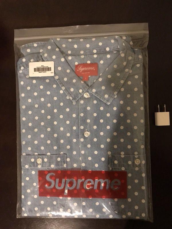 876aef0cd9 Supreme polka dot denim short sleeve shirt size large SS18 week 5 ...