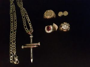 Necklace Cross or Nugget earrings or Rings 25$-35$ for Sale in Ladson, SC