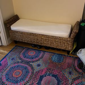 Wicker Entry Way Bench/Cream Cushion for Sale in New York, NY