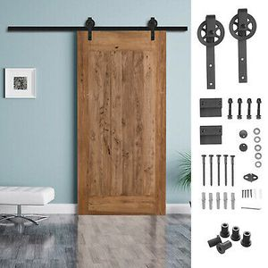 6.6FT Steel Sliding Barn Door Hardware Track System Rail Kit Big Wheel for Sale in Industry, CA
