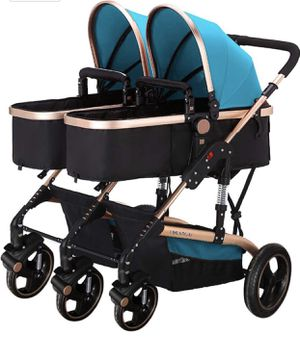 Ultralight Double Stroller Baby Twins Stroller Bassinet with Awning (Blue) for Sale in Fairfax, VA