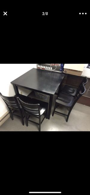 Black high chair dining table 4 chairs set for Sale in Seattle, WA