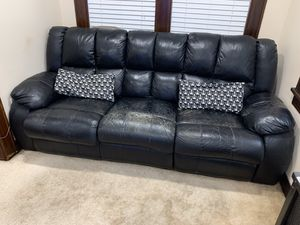 Free leather couch. Still reclines. Leather is cracking and has some tears. But has served the family well. for Sale in Union, NJ