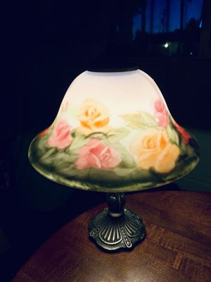 Stunning Vintage Reverse Painting Floral Scene Mini Tabletop Lamp With Ornate Brass Base for Sale in Willoughby, OH