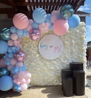 Flower wall / ivory rose backdrop / wedding / baby shower / gender reveal / birthday / balloon garland / globos / plinths for Sale in Colton, CA