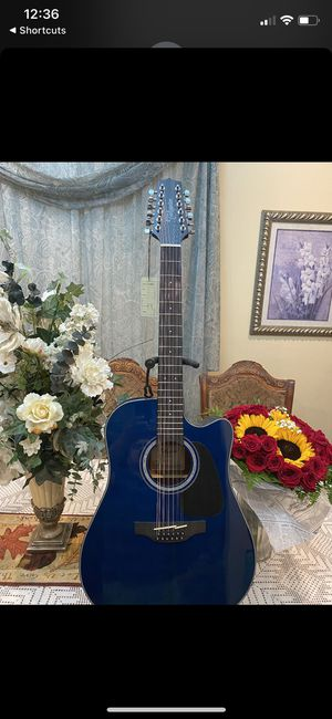 blue takamine 12 string electric acoustic guitar with built in tuner tuner for Sale in Cudahy, CA